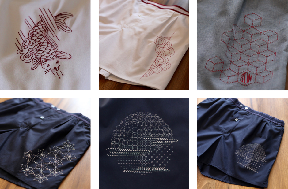 Broderie_calecon_boxer_homme_brode_main_machine_France_Paris_exclusif_sashiko_GABRIAC